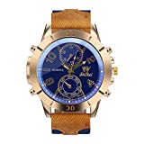 Bokeley Watch, Mens Watches, Fashion Luxury Watches Business Large Dial Watch Leather Belt Quartz Watch (Blue)