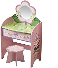 JSZMD Wooden Children's Dressing Table, Dressing Table and Chair Set, Drawer Dressing Table with Mirror and Stool for Girl...