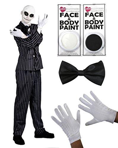 ILOVEFANCYDRESS - Disfraz de Mr Jack de Pesadilla antes de Navidad (traje de rayas con pajarita, guantes blancos, pintura facial y gorro, disponible en 5 tallas)