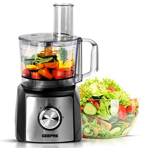 Geepas 1200W Compact Food Processor | Multifunctional Electric Chopper with Shredder & Grater Attachments | 1.2L Bowl Capacity | Stainless Steel Dough Blades Included | 2 Years Warranty