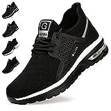 Zapatos de Seguridad Hombre Mujer Zapatillas de Trabajo con Punta de Acero Ligeras Transpirables Calzado de Seguridad con Colchón de Aire Calzado de Industrial y Deportivos Negro-Blanco A EU 46