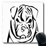 Luancrop Alfombrilla para computadora portátil Lindo Bulldog inglés Recorte Abstracto Perro Arrugado Frente doméstico Diseño de pedigrí Alfombrilla Antideslizante para Juegos