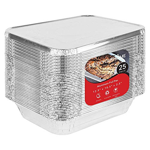 Foil Pans with Lids - 9x13 Aluminum Pans with Covers - 25 Foil Pans and 25 Foil Lids - Disposable Food Containers Great for Baking, Cooking, Heating, Storing, Prepping Food