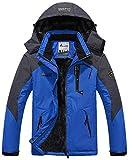 YIRUIYA Abrigo Invierno Hombre Chaqueta Acolchada de Montaña Esquí Impermeable con Capucha Removible Multi-Bolsillos Azul XL