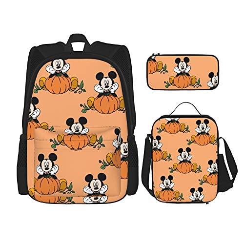 Sup-erm-an Symbol - Mochila escolar para niños y niñas, con bolsa de almuerzo y estuche para lapiceros de 15 pulgadas, Fall Di-s-n-ey M-ick-ey Mo-use, Talla única,