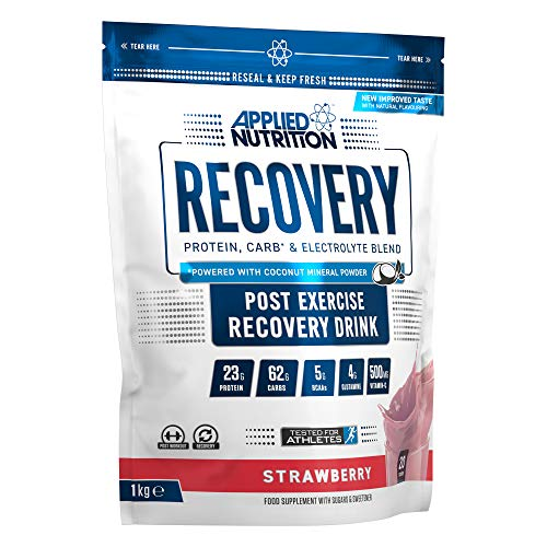Applied Nutrition Recovery, Post Workout Muscle Recovery Drink, Protein Powder, Carb & Electrolyte Blend with BCAA's, Whey Protein Concentrate & Isolate - 1kg (Strawberry)