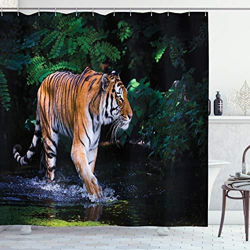 ABAKUHAUS Tropisch Duschvorhang, Wilder Dschungel-Tiger-Baum, mit 12 Ringe Set Wasserdicht Stielvoll Modern Farbfest & Schimmel Resistent, 175x220 cm, Orange Braun Grün