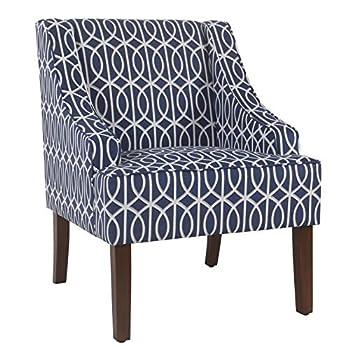 HomePop Swoop Arm Accent Chair Blue Trellis