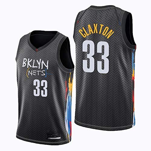 xiaotianshi Ropa de Baloncesto de los Hombres de la NBA, Nets de Brooklyn # 33 Nicolas Claxton Classic Jersey, Resistente al Desgaste Transpirable Vintage Baloncesto All-Star Unisex Fan Uniforme,M