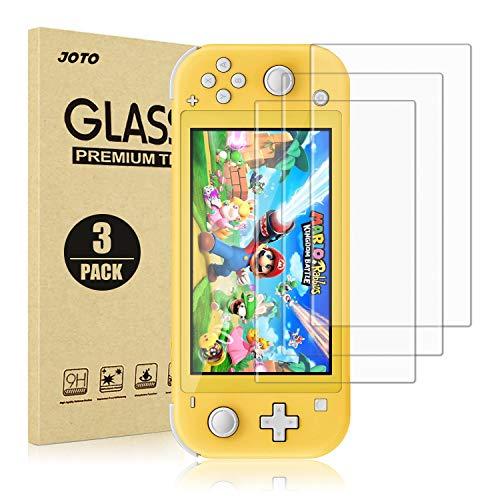 JOTO beschermfolie voor Nintendo Switch Lite, 3 stuks glazen displaybeschermfolie echt gehard glas folie afgeronde rand glas pantserfolie screen protector voor Nintendo Switch Lite 2019-3 verpakking