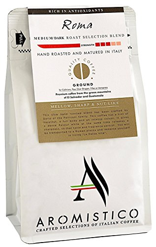 Aromistico | Italian Medium Dark Roast Ground Gourmet Coffee Blend, Finest Smooth Aroma | ROMA BLEND, MELLOW, SHARP and NUT-like | Cafetiere / French Press, Filter, Pour Over, Drip, Chemex, Moka