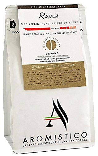 AROMISTICO | Mittlere Röstung Farbe Selektion Blend | Premium italienischer gemahlener Kaffee | ROMA BLEND | Fuer Kaffeekanne , Filterkaffee, Aeropress | Mildes, Vollmundiges, Nussartigen Aroma