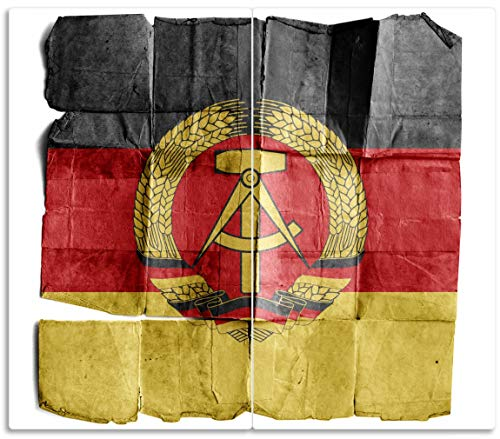 Wallario Herdabdeckplatte/Spritzschutz aus Glas, 2-teilig, 60x52cm, für Ceran- und Induktionsherde, DDR Flagge auf altem Papier - schwarz rot Gold