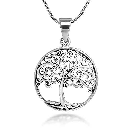 Sterling Silver 21 mm Filigree Tree of Life Symbol Round Pendant Necklace, 18'' Snake Chain