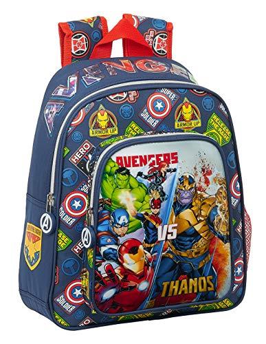 Safta Mochila Escolar Infantil de Avengers Heroes Vs Thanos, 270x100x330mm, azul marino/multicolor