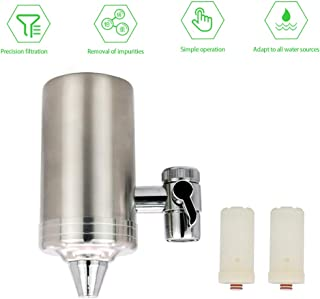 JoaSinc Faucet Water Filter Water Purifier 304 Stainless-Steel Filter Tap for Kitchen and Bathroom Removes Chlorine Taste & Odor Sediment Rust Particles BPA-Free (2 Filters Cartridges Included)
