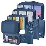 Cubos de embalaje para maleta, 8 organizadores de embalaje de equipaje de viaje, impermeable, bolsa esencial de viaje, ropa, zapatos, cosméticos, bolsas de almacenamiento (azul)