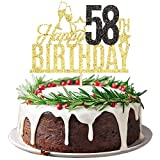 Supplies cake topper Cheers to 58 Years Party Decorations 58 Silver Glitter Happy 58th Birthday Cake Topper