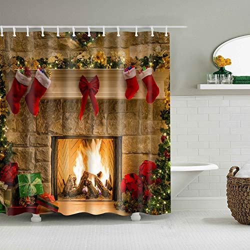 WENHUI Gelb Kamin Grün Schöne Weihnachtsbaum Red Bow White Flame Bad Duschvorhang langlebigen Stoff Mehltau Badzubehör kreativ mit 12 Haken 180X180CM