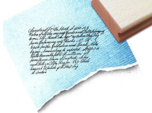 Stempel - Textstempel VINTAGE ÉCRITURE VII mit alter Handschrift - Eleganter Schriftstempel für Ihr eigenes Design im Shabby chic style - Typostempel von zAcheR-fineT