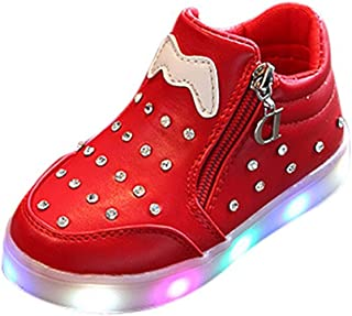 Kids Pearl Crystal LED Light up Shoes Flashing High-top Sneakers for Girls Child Boots