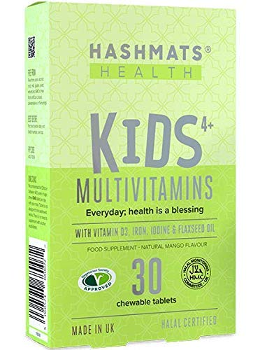 HASHMATS Health Kids 4+ Multivitamins Natural Mango (30 Chewable Tablets) | 22 NUTRIENTS | Vitamin D3 Iron Omega-3 | UK Halal & Vegetarian Supplement