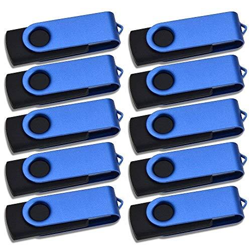 64MB Memorias USB 2.0, 10 Piezas Poca Capacidad Pendrive 64 MB, Kepmem Azul Giratorio Unidad Flash Drive Práctico y Económico Metal Pen Drives Almacenamiento de Datos para Grabar Cosas Pequeñas