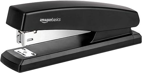 Amazon Basics 10-Sheet Capacity, Non-Slip, Office Stapler with 1000 Staples, Black