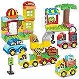 burgkidz Bloques de Construcción - 141 Piezas de Ladrillos Grandes - 6 Vehículos Diferentes con Placa Base de Carretera, Juguete Creativo y Divertido para niños a Partir de 2 años