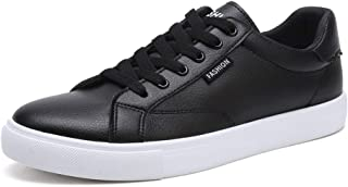Shangruiqi Fashion Sneakers for Men Sport Shoes Round Toe Lace Up Microfiber Leather Suitable for Daily Walking Spring and Autunm Handiness Anti-Wear (Color : Black, Size : 6.5 UK)