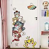 Türaufkleber Selbstklebende Tapete Tapete Kinderzimmerausstattung Türdekoration Glastüraufkleber Nette Katze Wandaufkleber