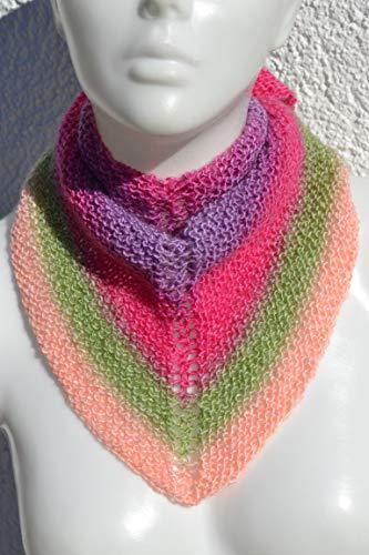 Halstuch Dreieckstuch Tuch Stricktuch rosa pink lila grün ombre bunt gestrickt