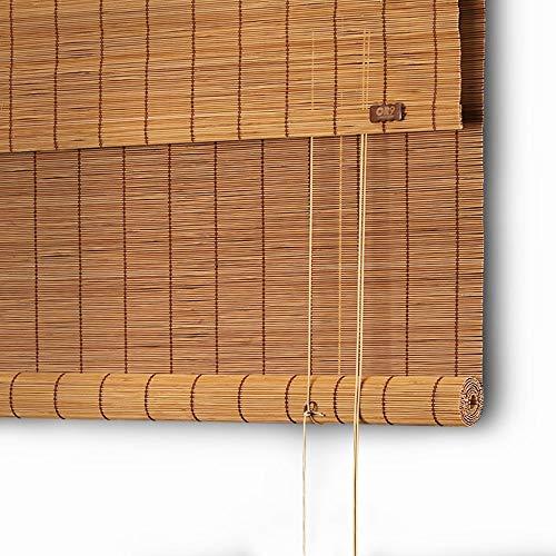 TLMY Persianas enrollables persianas horizontales 50{c7a8f9c8b66867e3c7b053cf26aede2504ef6dec3de3e5a26c6b7ceb836abf5d} Opacas con persianas Laterales de bambú para Ventanas y Puertas tamaño Personalizado Color carbonizado Persiana Enrollable de bambú