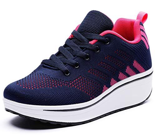 DADAWEN Women's Platform Wedge Tennis Walking Shoes Breathable Lightweight Casual Comfort Fashion Sneaker Navy/Hot Pink US Size 10