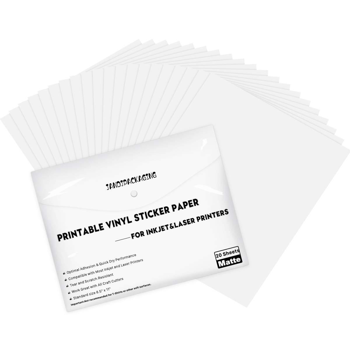Printable Vinyl Sticker Paper Nashville-Davidson Mall for Inkjet Printer Cash special price 20 8.5