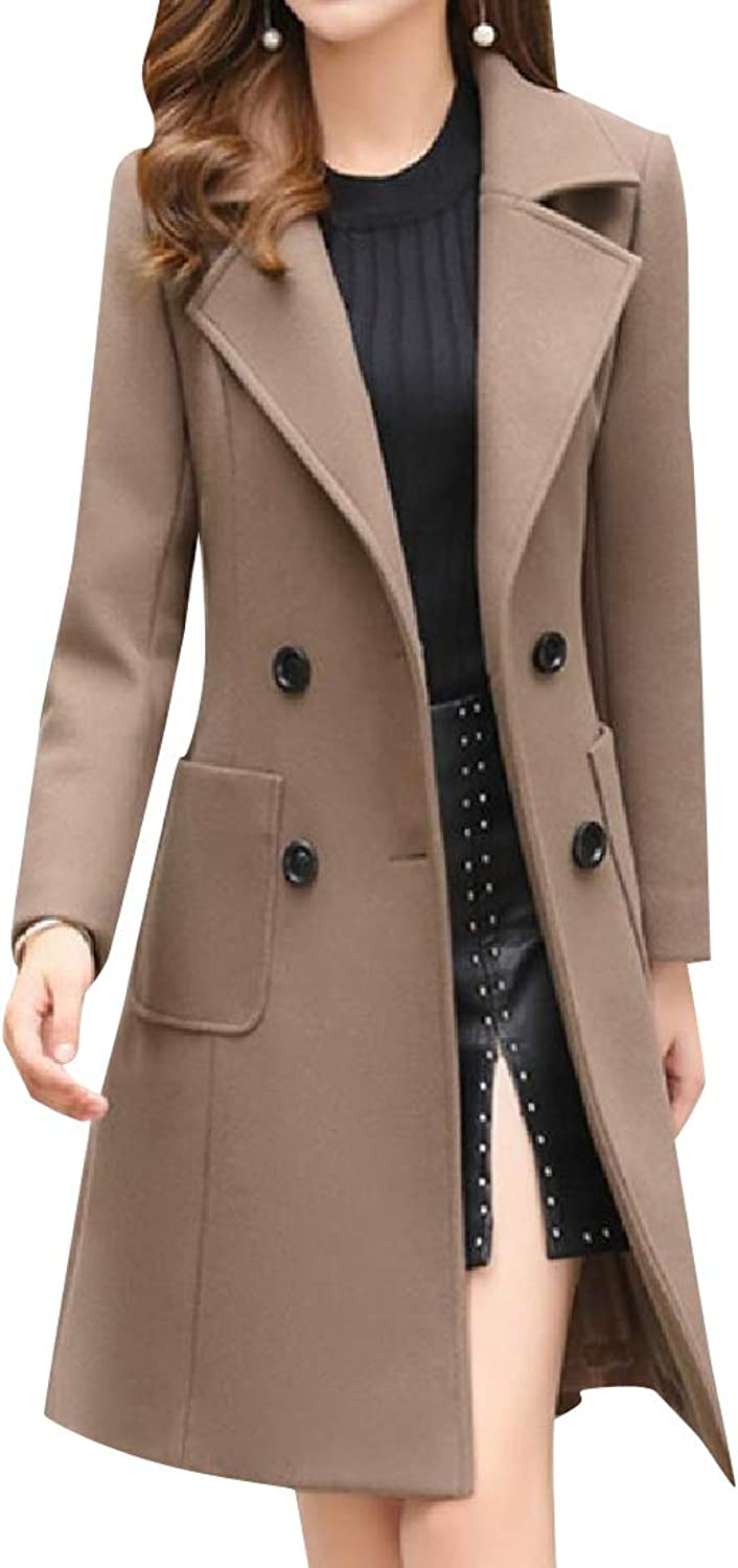 Baseby Women Wollen Double Breasted Chunky Pea Coat