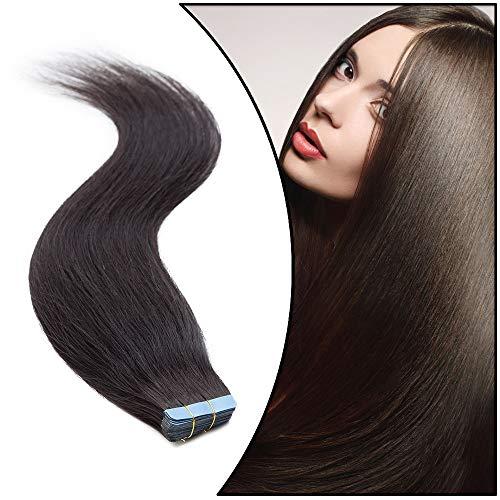 Extension Adhesive Cheveux Naturel Rajout Cheveux Humain - Tape in Remy Human Hair Extensions 20 PCS (#1B NOIR NATUREL, 12 Pouce-30cm)
