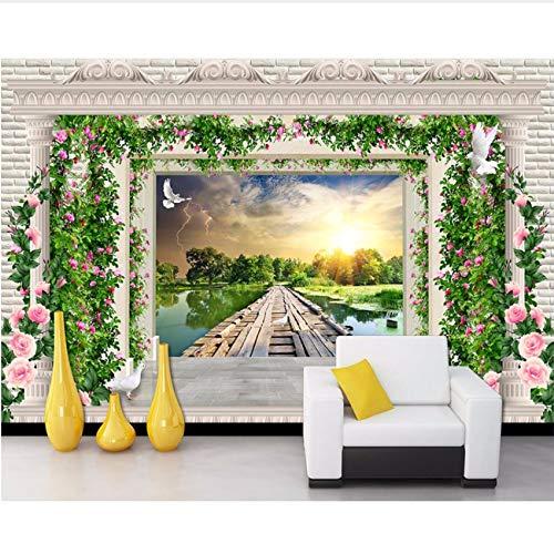 Pmhhc Peint Fleur Vigne Européen Romain Planken De Bois Pont Paysage Papier Peint Salon Chambre Tv Fond Cuisine Murale 280 x 200 cm.