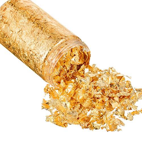 15 Gramm Gold Blatt Flocken Gold Folien Flocken Gold Metallisch Folien Flocken für Vergoldung, Malerei, Handwerk Nägel und DIY (Gold)