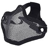 SIVENKE Máscara táctica de malla metálica de acero para airsoft (negro)