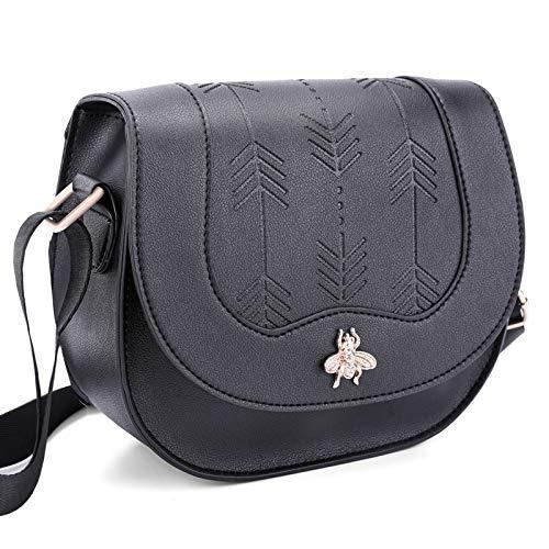 Lekesky Damen Schultertasche klein Handtasche Umhängetasche mit Kartenfächer & Verstellbar Abnehmbar Schultergurt, Kunstleder, Schwarz