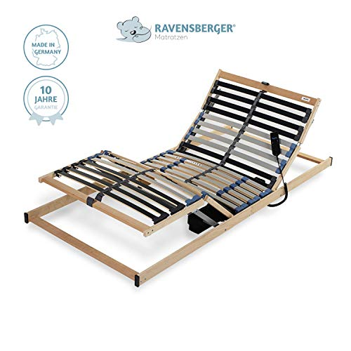 Ravensberger Matratzen® PURAMED ® Lattenrost | 7-Zonen-Birke-Lattenrahmen | 28 Leisten| Elektrisch| KLAPPRAHMEN - Made IN Germany | 80 x 200 cm