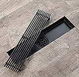 DNDN Acciaio Inossidabile 30 * 7 Centimetri Filtro Capelli, Anti-Odore Scarico a Pavimento Tile Inserire Anti-intasamento per la Cucina, Invisibile Grande Flusso Doccia Piano di Scarico (Nero)