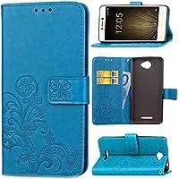 JEEXIA® Funda para BQ Aquaris U Lite, Moda Flip Wallet Case Cover PU Cuero con Soporte Cubierta Protectora Trébol de Cuatro Hojas (Azul)