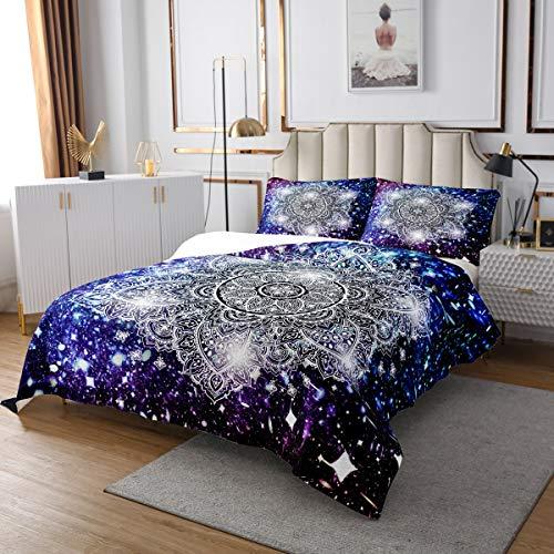 Loussiesd Juego de colcha de mandala galaxia bohemio, diseño de mandala hippie, colcha acolchada para niños y adultos, coloridas flores con purpurina, acolchadas, decoración de habitación suave, doble