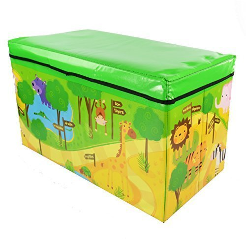 ASAB Foldable Large Soft Toy Storage Box for Kids | Wooden Chest Seat for Baby Clothes | Container Book Bench for Boy and Girl | Nursery Trunk | 59x35x30cm (Zoo)