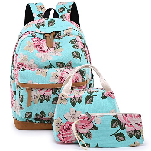 BLUBOON School Backpack for Teens Girls Bookbags Set 15 inches Laptop Bag Kids Lunch Bag and Pencil Case (Big Floral - Water Blue)