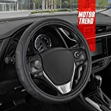 Motor Trend GripDrive Pro Synthetic Leather Auto Car Steering Wheel Cover Black w/ Blue Accent Stitching Comfort Grip - Small 13.5 to 14.5 inch