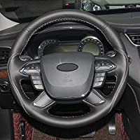 ZHHRHC 手縫いの黒い本革の車のステアリングホイールカバー、フォードトーラス20162017に適合