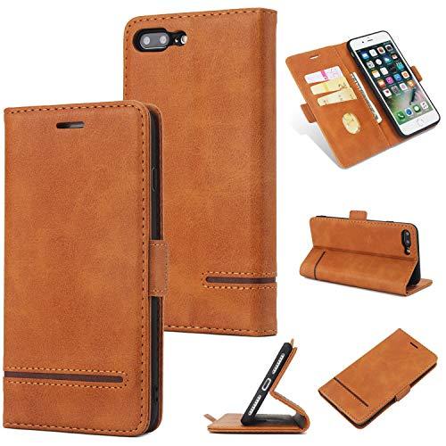 Yhuisen iPhone 7 Plus/8 Plus Caso, Custodia Protettiva in Vera Pelle di Alta qualità Business Retro PU Custodia Protettiva per iPhone 7 Plus/iPhone 8 Plus (Colore : Marrone)